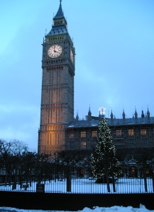 christmas tree at big ben london