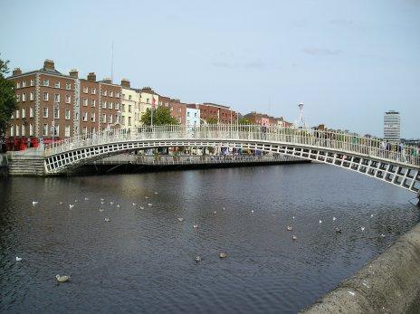 river liffey penny farthing bridge dublin ireland