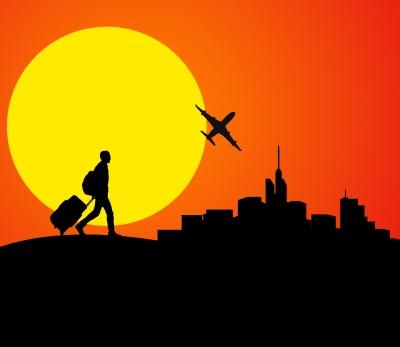 traveler and sun