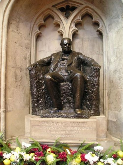 a sculpture of Winston Churchill at Guildhall