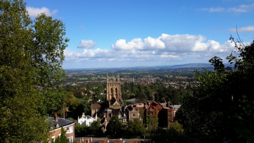 view of the Malvern Piory and countryside of Great Malvern, Worcestershire