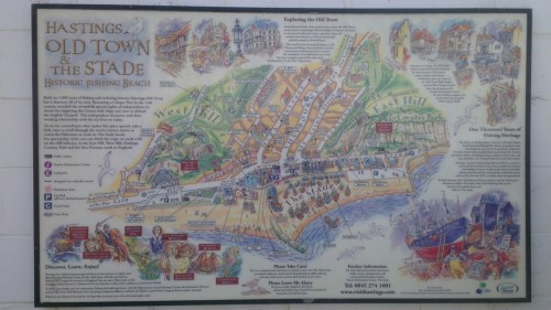 1066 story, hastings, map of old town and the stade