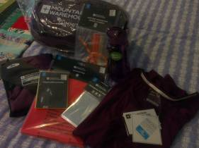Lookie looook!!! :) Some of my #Camino2016 gear has arrived!! In keeping with the colour of my jacket and rucksack, I've bought as much as I can in purple...can't help myself; colour coding LOL. So in this pile is a Summit 250 sleeping bag, an emergency foil blanket, survival bag, waterproof pouch (for carrying stuff with easy access), poncho, BPA free water bottle, IsoCool t-shirts, microfibre travel towel, travel bottle set. All of which will be useful for future walking trips and camping too. #travel #walking #camping #walkUK #traveldiaries #thingstodo #Porto to #Santiago #SantiagodeCamino