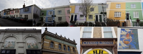 colourful houses in london