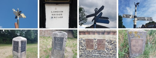 Some of the distance and direction signs I saw between London and Faversham...and onto Canterbury