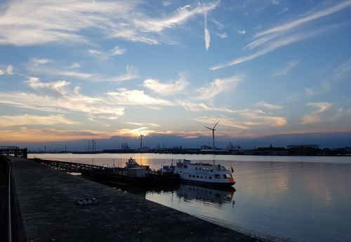 sunset at Gravesend on the River Thames
