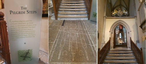 Rochester Cathedral; the Pilgrim's steps - worn away by centuries of footsteps