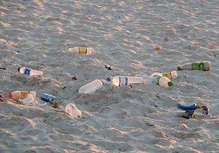 plastic pollution on the beaches