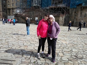 Susana and me outside the Cathedral in Santiago