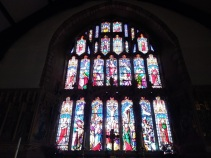 Stained glass window St Nicholas Church, Montgomery, Powys, Wales