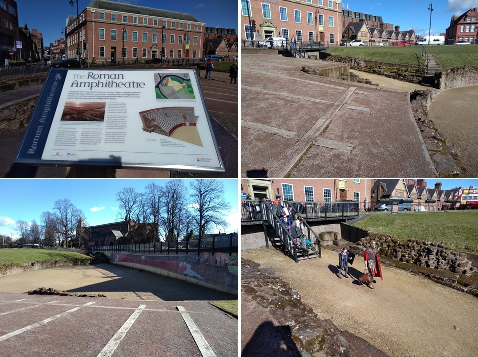 chester roman amphitheatre, chester, roman fort, chesters clock, roman city walls chester, explore chester, things to do in chester, chester high cross, britains oldest shopping arcade. black and white buildings of chester, domesday book town, chester city walls