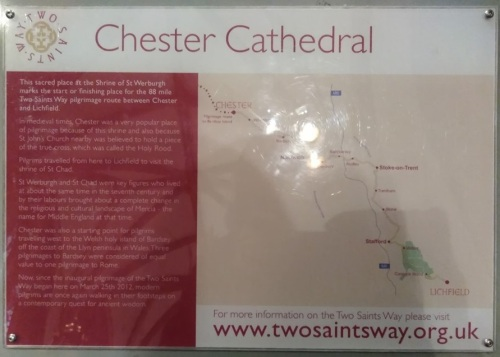 two saints way chester to lichfield, walks in england, saints of england, chester cathedral, things to do in chester
