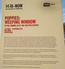poppies tour, weeping window, imperial war museum, blood swept land and seas of red, 100th anniversary of world war one, weeping window imperial war museum, visit london