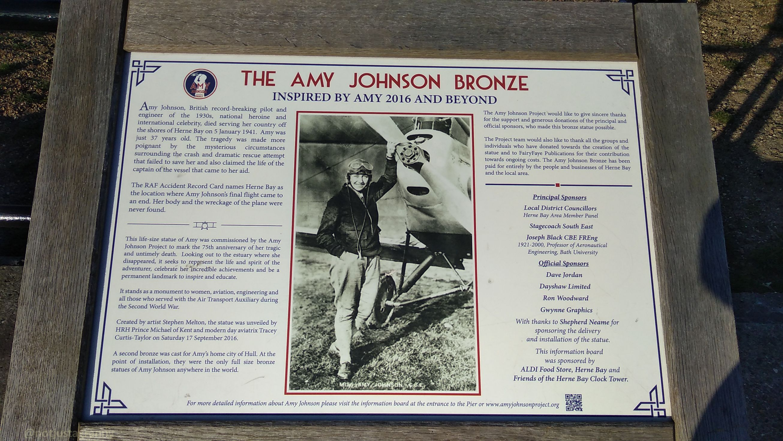 Amy Johnson bronze statue in Herne Bay