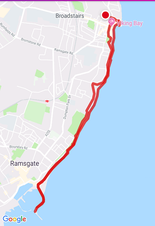 walk 1000 miles, broadstairs to ramsgate, kentish coast, walks in england, coastal walks uk, map my walk