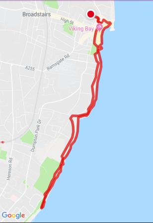 map my walk, walk 1000 miles, coastal walks of england, isle of thanet, ramsgate to broadstairs